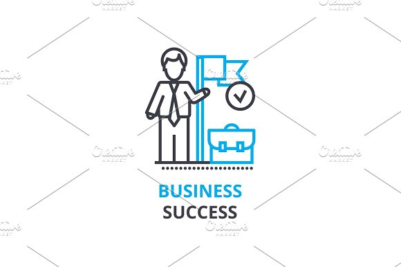 Business Success Concept Outline Icon Linear Sign Thin Line Pictogram Logo Flat Vector Illustration