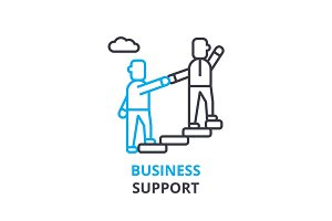 Business support concept , outline icon, linear sign, thin line pictogram, logo, flat vector, illustration