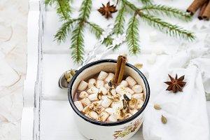 Vintage mug of hot chocolate