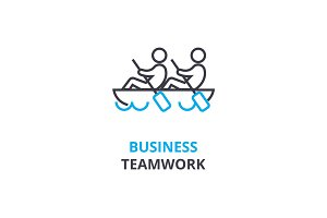 Business teamwork concept , outline icon, linear sign, thin line pictogram, logo, flat vector, illustration