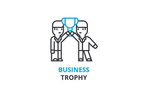 Business trophy concept , outline icon, linear sign, thin line pictogram, logo, flat vector, illustration