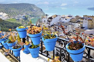 Flowerpots in Iznajar, an Andalusian town