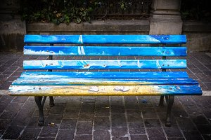 Bench painted in the park