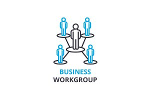 Business workgroup concept , outline icon, linear sign, thin line pictogram, logo, flat vector, illustration