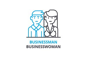 Businessman, businesswoman concept , outline icon, linear sign, thin line pictogram, logo, flat vector, illustration