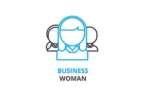 Businesswoman concept , outline icon, linear sign, thin line pictogram, logo, flat vector, illustration