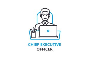 Chief executive officer concept , outline icon, linear sign, thin line pictogram, logo, flat vector, illustration