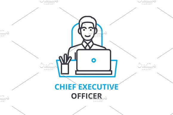 Chief Executive Officer Concept Outline Icon Linear Sign Thin Line Pictogram Logo Flat Vector Illustration
