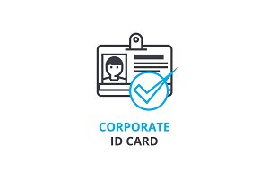 Corporate id card concept , outline icon, linear sign, thin line pictogram, logo, flat vector, illustration