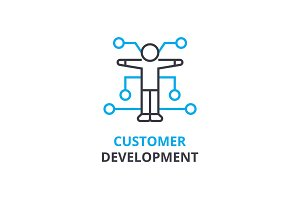 Customer development concept , outline icon, linear sign, thin line pictogram, logo, flat vector, illustration