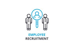 Eployee recruitment concept , outline icon, linear sign, thin line pictogram, logo, flat vector, illustration