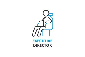 Executive director concept , outline icon, linear sign, thin line pictogram, logo, flat vector, illustration