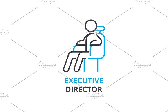 Executive Director Concept Outline Icon Linear Sign Thin Line Pictogram Logo Flat Vector Illustration