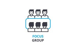 Focus group concept , outline icon, linear sign, thin line pictogram, logo, flat vector, illustration