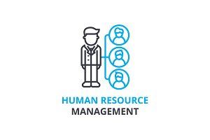 Human resource management concept , outline icon, linear sign, thin line pictogram, logo, flat vector, illustration