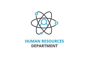 Human resources department concept , outline icon, linear sign, thin line pictogram, logo, flat vector, illustration