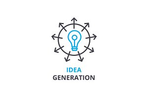 Idea generation concept , outline icon, linear sign, thin line pictogram, logo, flat vector, illustration