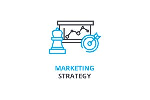 Marketing strategy concept , outline icon, linear sign, thin line pictogram, logo, flat vector, illustration