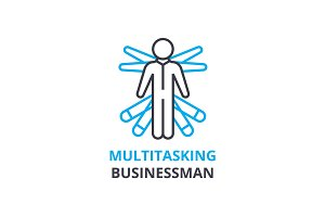Multitasking businessman concept , outline icon, linear sign, thin line pictogram, logo, flat vector, illustration