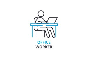Office worker concept , outline icon, linear sign, thin line pictogram, logo, flat vector, illustration