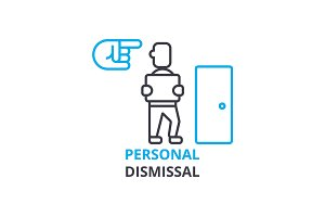 Personal dismissal concept , outline icon, linear sign, thin line pictogram, logo, flat vector, illustration