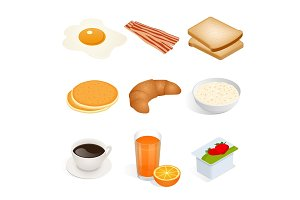 Set of isometric food scrambled eggs, yolk, breakfast, food, fast, delicious, bacon, bread, pancakes, croissant, oatmeal, coffee, tea, cup, orange, juice, yoghurt vector isolated on white background.