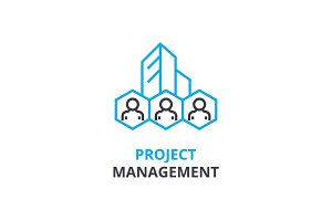 Project management concept , outline icon, linear sign, thin line pictogram, logo, flat vector, illustration