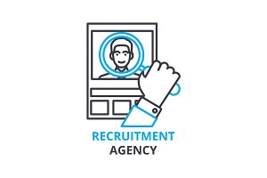 Recruitment agency concept , outline icon, linear sign, thin line pictogram, logo, flat vector, illustration