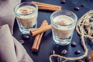 Irish creme liqueur on dark background