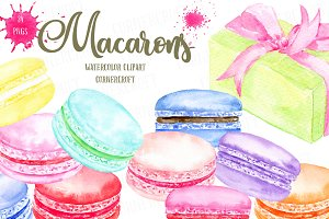 Watercolor Macaron Graphics