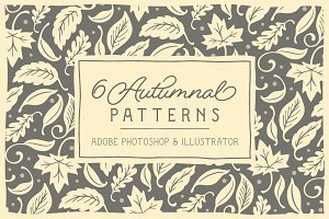 6 Autumnal Patterns + Clipart