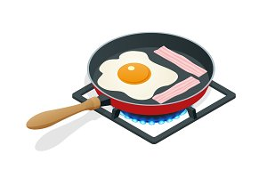 Isometric fried eggs with bacon in a frying pan. Breakfast isolated on white background.