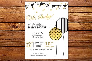 Baby Shower Gold and Black Invite