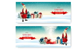 Two Holiday Christmas banners