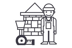 builder,brick house,meter vector line icon, sign, illustration on background, editable strokes