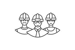 builders team vector line icon, sign, illustration on background, editable strokes