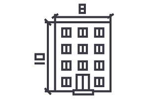 building,architecture project vector line icon, sign, illustration on background, editable strokes
