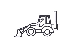 bulldozer vector line icon, sign, illustration on background, editable strokes
