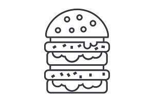 burger,hamburger vector line icon, sign, illustration on background, editable strokes