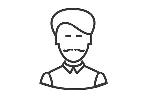 businesman with moustache vector line icon, sign, illustration on background, editable strokes