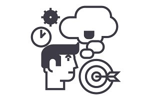business idea,brainstorm,target goal, time, thinking man vector line icon, sign, illustration on background, editable strokes