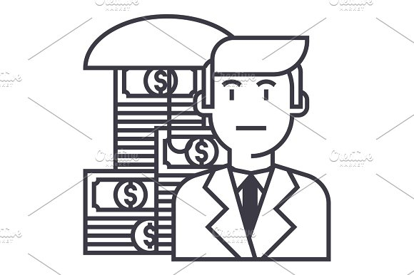 Business Money Insurance Vector Line Icon Sign Illustration On Background Editable Strokes