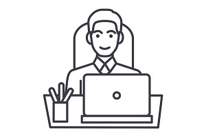 businessman in office at table with laptop, front view vector line icon, sign, illustration on background, editable strokes