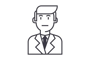 businessman in suit vector line icon, sign, illustration on background, editable strokes