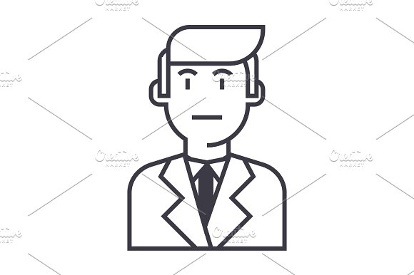 Businessman In Suit Vector Line Icon Sign Illustration On Background Editable Strokes