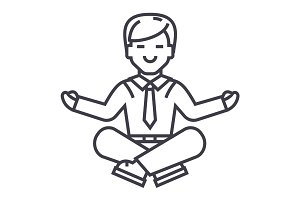 businessman meditation vector line icon, sign, illustration on background, editable strokes