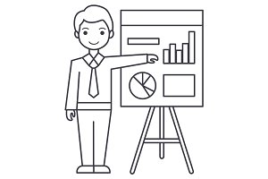 businessman showing presentation board vector line icon, sign, illustration on background, editable strokes