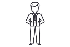 businessman with hands back vector line icon, sign, illustration on background, editable strokes