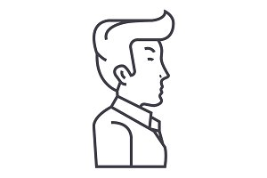 businessman, manager, side view vector line icon, sign, illustration on background, editable strokes