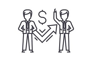 businessmen and success graph vector line icon, sign, illustration on background, editable strokes